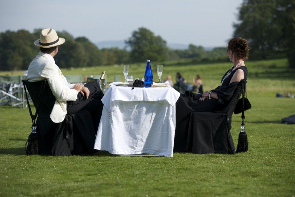 Picnic_man and woman in black